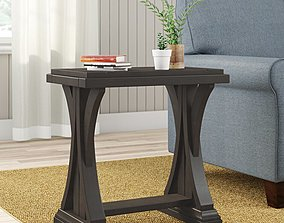 Aisling Solid Wood Trestle End Table 3D model