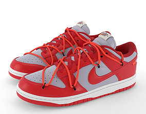 3D asset Nike Dunk Low Off-White University Red PBR