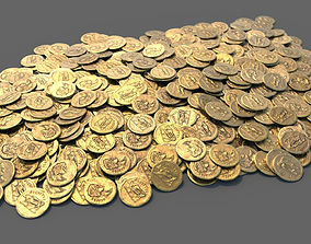 Single Roman Gold Coin and Coin Stack 3D model