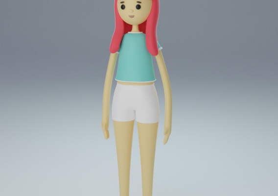 cartoon girl low poly Low-poly