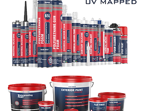 3D Collection of 17 industrial buckets tubes and cans