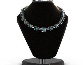 Diamond and Topaz necklace 3D print model
