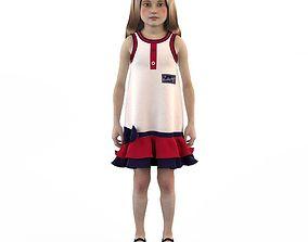 Girl dress t shirt skirt Baby clothes doll 3D model