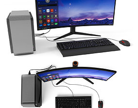 Gaming computer with monitor 3D model