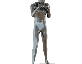Male black mannequin in boxing pose 3D model