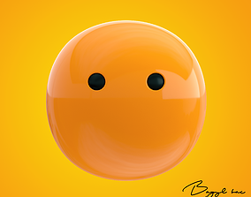 3D asset low-poly Emoji Face Without Mouth