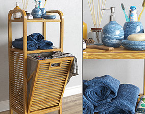 3D model Bamboo shelf with laundry basket with