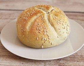3D White Bread Bun Mid-Poly