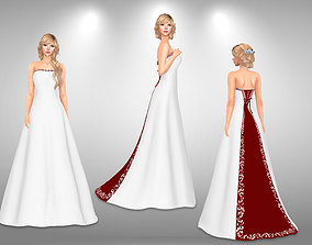 Bridal Gown 3D model game-ready