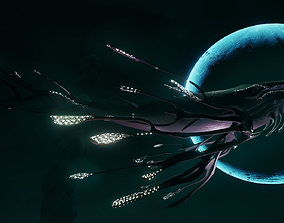Space Whale 3D asset animated