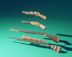 pirate weapon pack 3D asset rigged