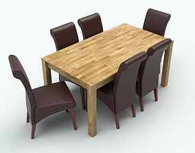 3D model Dining table with chairs comfort