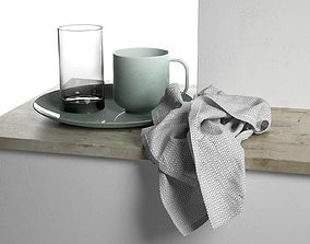 3D model Plate with Cups and Towel