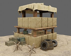3D model PBR Military Trench Tower