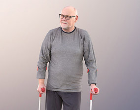 Phil 11240 - Best Ager Man Standing With Crutches 3D model