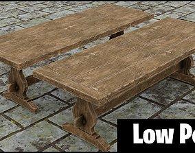 Medieval wooden long table 3D asset