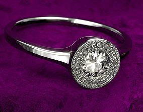 3D Diamond Ring on Velvet Scene PBR