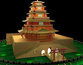 3D Chinese House glass