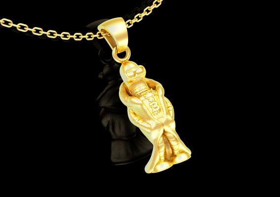 Bender Futurama Simpson Sculpture pendant jewelry gold necklace 3D print model