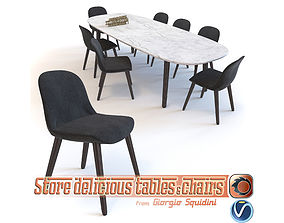 Poliform Mad dinning Chair and Table 3D asset