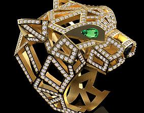 3D printable model panther ring bracelet