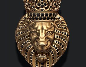 3D printable model Lion pendant with diamonds and crown