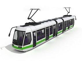 White Green Tram 3D