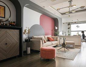 Livingroom and kitchen 01 3D model