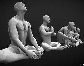 Low-poly Strong man sitting collecting 001 3D print model