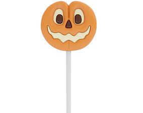3D Pumpkin shaped candy on a stick