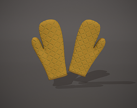 Yellow Oven Glove 3D model low-poly