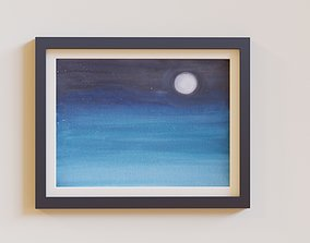 3D model Wall art painting of abstract nightly scene
