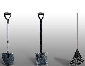 3D model Lawn Rake Fork Shovel Tool