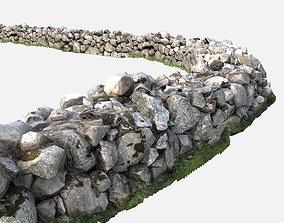 Low Poly Modular PBR Cobblestone Wall 3D asset