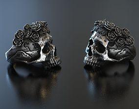 Skull Roses Ring 3D print model