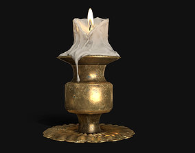 3D model game-ready Antique Candle Stand - PBR