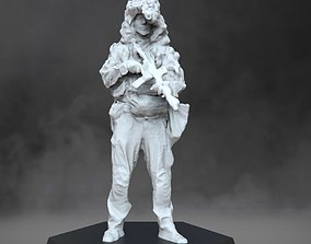Soldier in ghillie helmet miniatures 3D print model
