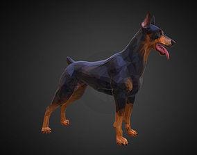 3D asset realtime Doberman Black Low Polygon Art Animal