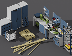 Low-Poly Workshop Pack 3D asset