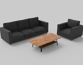 3D Simplistic Couch Chair and Coffee Table Set