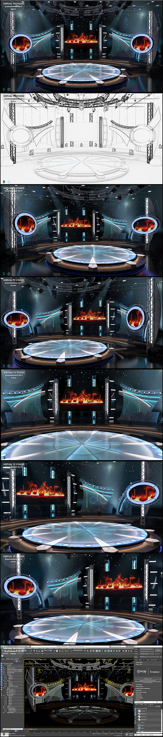 Virtual TV Studio Entertainment Set 5  - 3D Model Designs