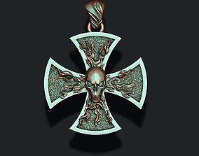 fire cross with skull pendant 3D print model