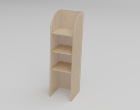 Bookcase shelf 3D model low-poly