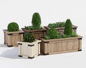 3D Rustic barnwood planter one