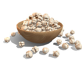 3D asset Bowl with Popcorn - Low Poly