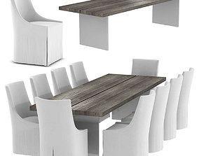 Restoration Hardware CHANNEL DINING TABLE and ELLA 3D