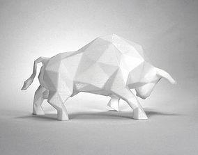 poly 3D print model Low Poly Bull Sculpture