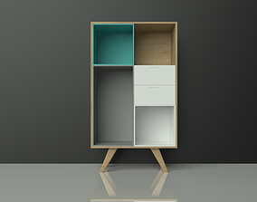 3D asset Commmode - cabinet - wood - colorful - furniture