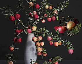3D model Red Cherry tomato apple branches Dry leaves Vase