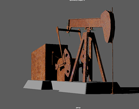 Rusty Oil Pump Jack 3D model animated